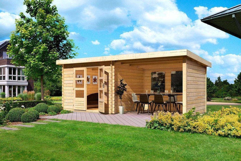 KARIBU Gartenhaus »Ringköbing 5«, BxT: 280x280 cm, mit Anbau (ca. 300 cm breit) + Wände in natur