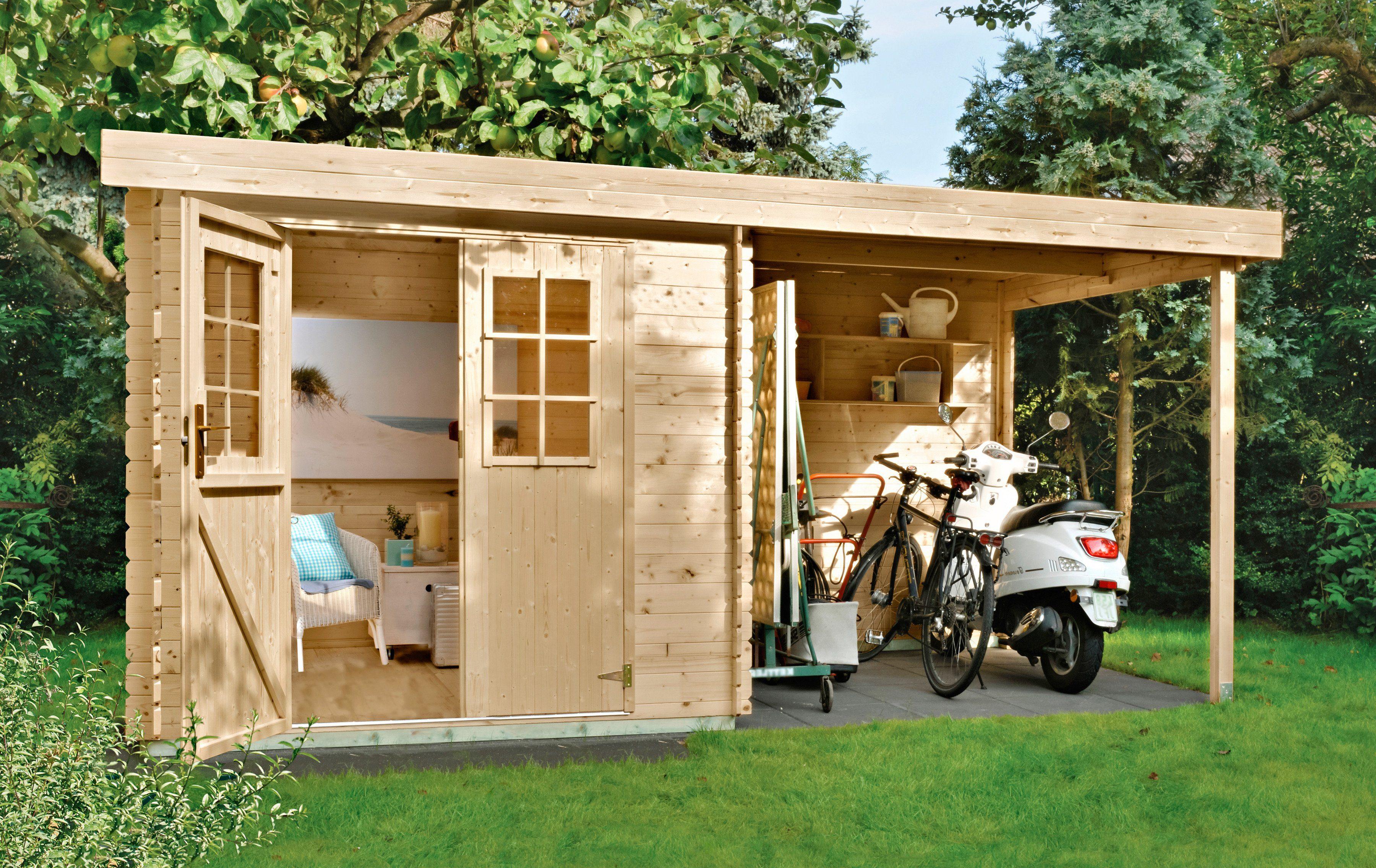 LUOMAN Gartenhaus »Lillevilla 329«, BxT: 360x200cm, 19 mm, inkl. Anbau (B: 180 cm)