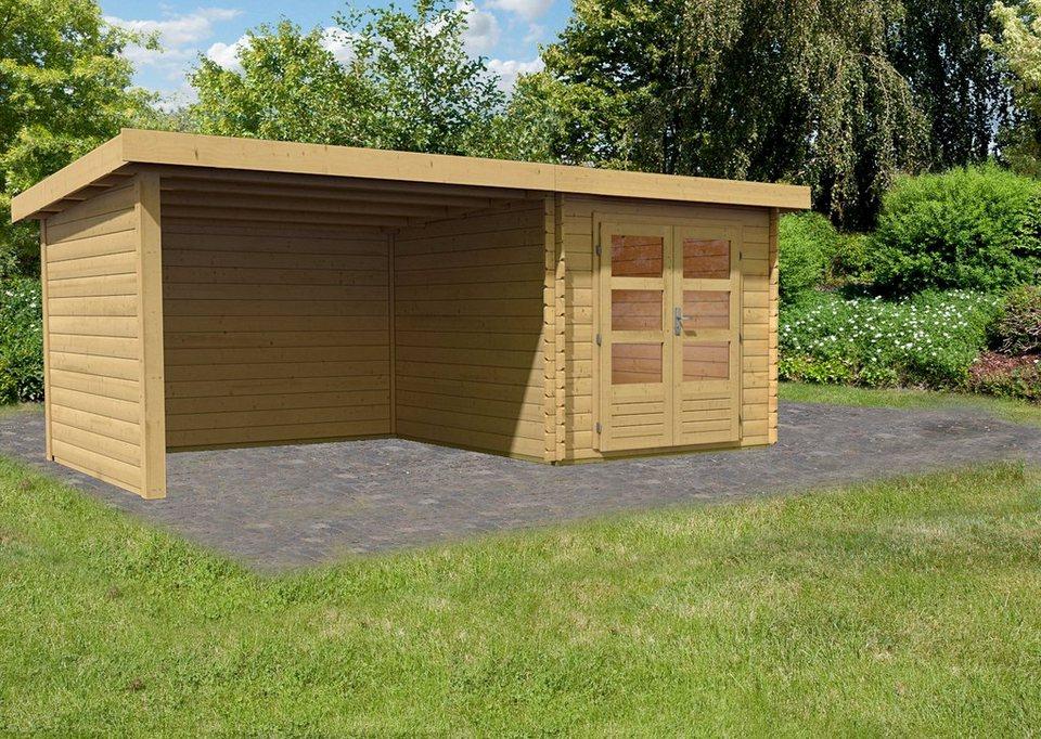 KARIBU Gartenhaus »Ringköbing 4«, BxT: 220x280 cm, mit Anbau (ca. 300 cm breit) + Wände in natur
