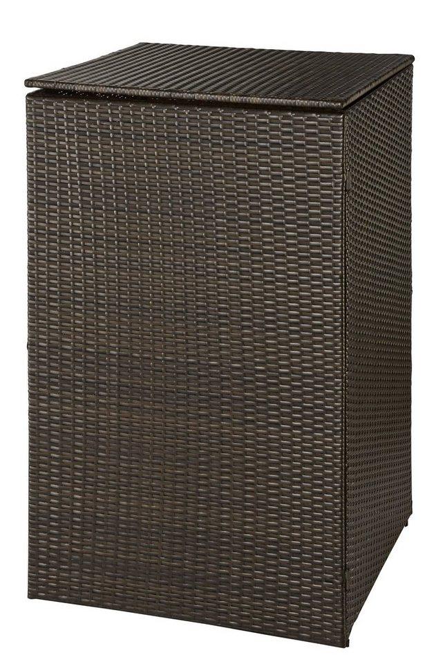 Mülltonnenbox , für 1x120 l aus Polyrattan, B/T/H: 64/66/109 cm in braun