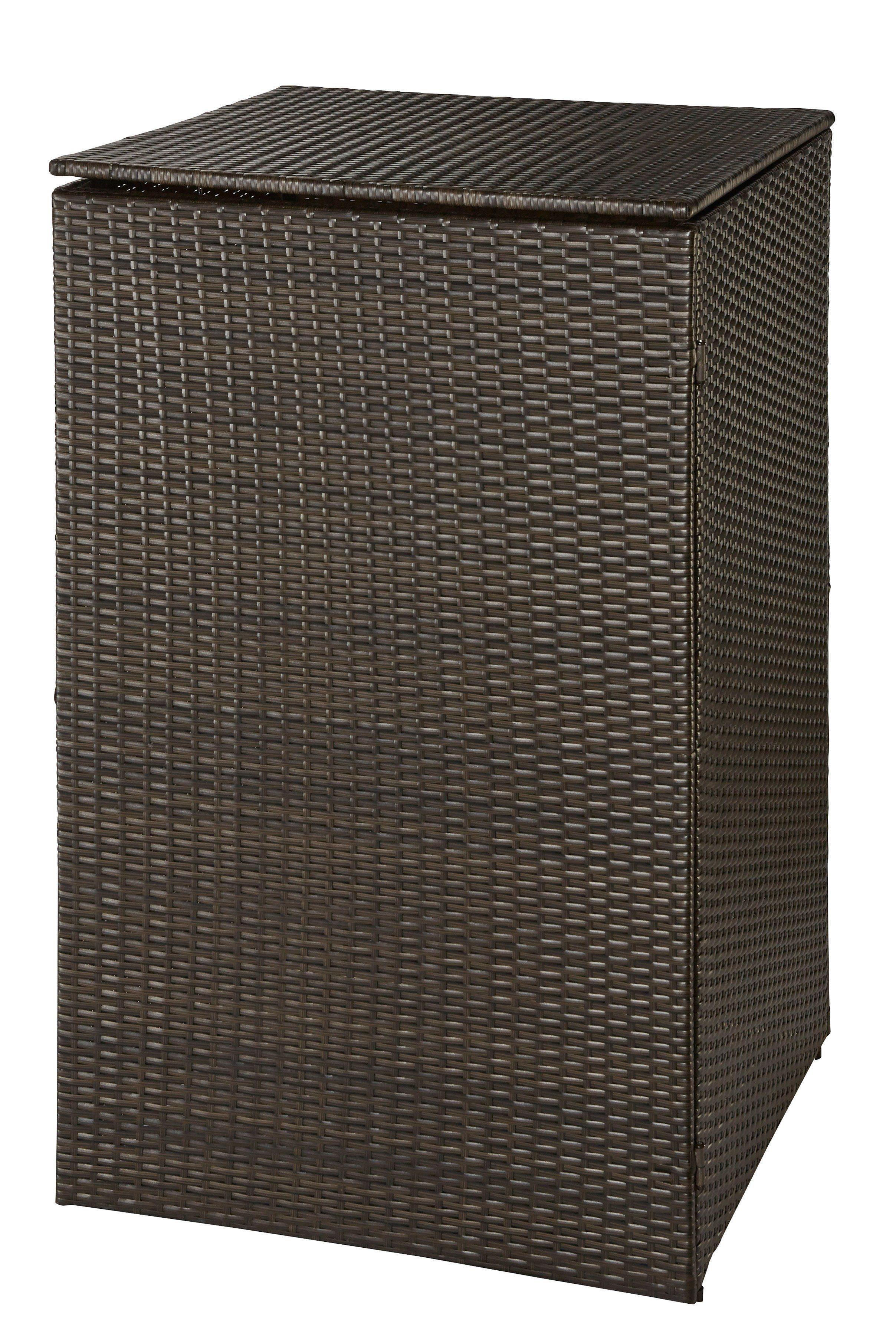 Mülltonnenbox , für 1x120 l aus Polyrattan, B/T/H: 64/66/109 cm