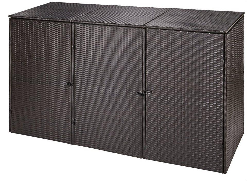 Mülltonnenbox , für 3x240 l aus Polyrattan, B/T/H: 228/78/123 cm in braun