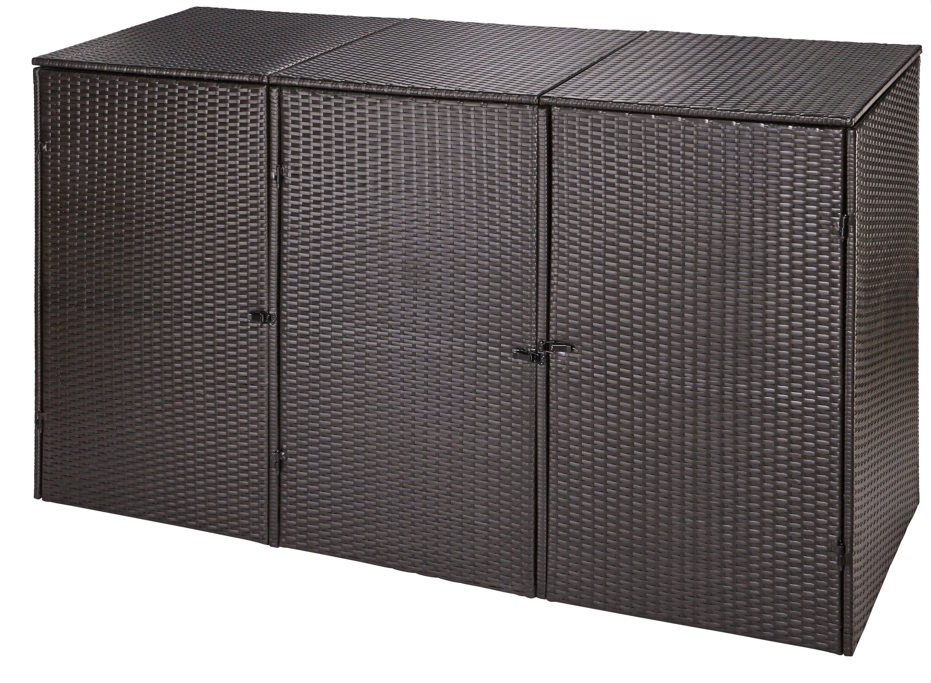 HANSE GARTENLAND Mülltonnenbox , für 3x240 l aus Polyrattan, B/T/H: 228/78/123 cm