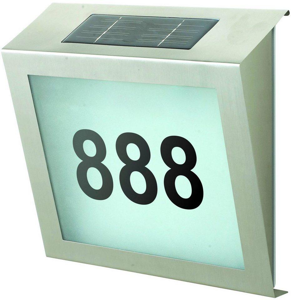 Solar Hausnummernleuchte in silberfarben