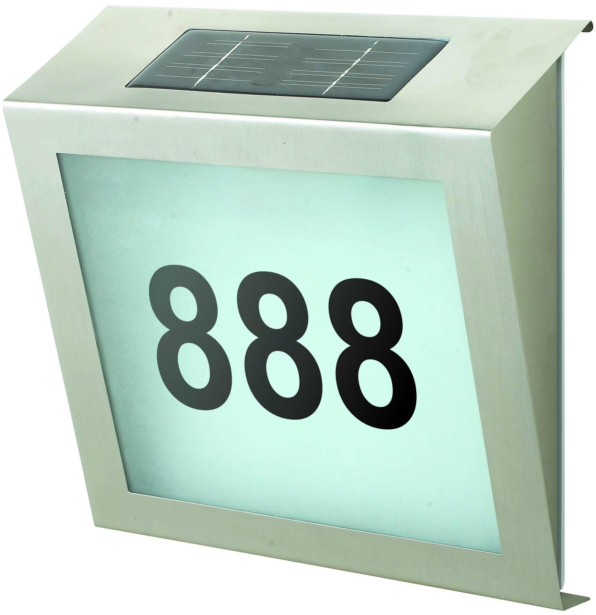 BETTERLIGHTING Solarleuchte »Hausnummernleuchte«, Höhe: 23 cm, silberfarben