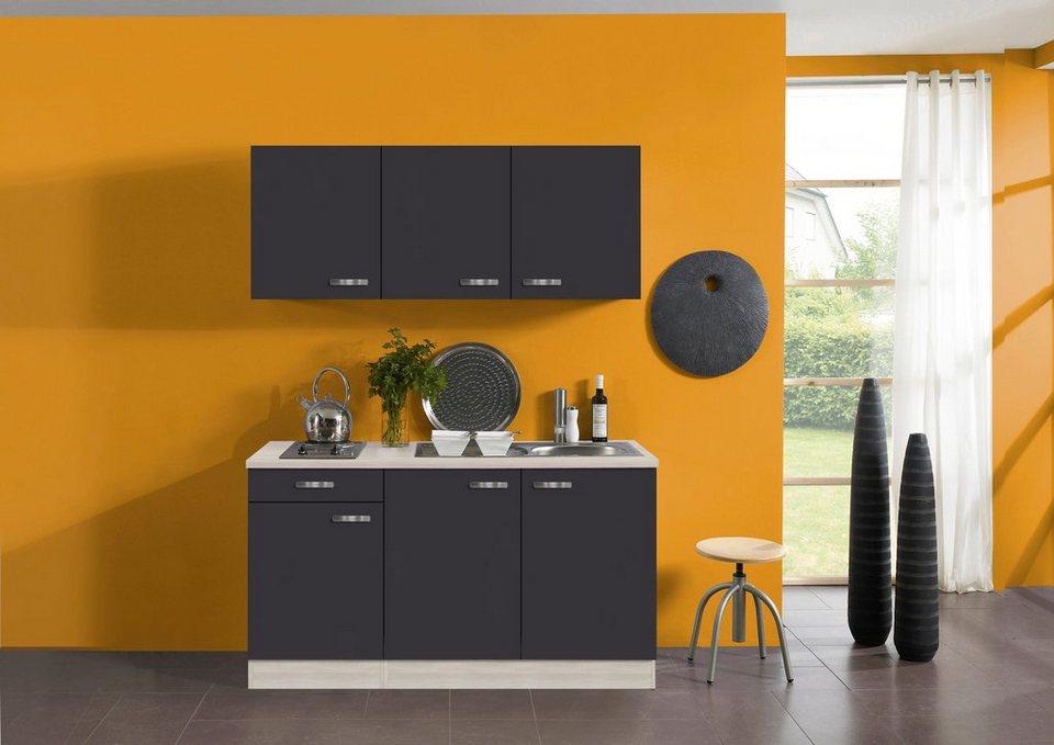 Küchenzeile mit E-Geräten »Skagen«, Breite 150 cm in anthrazit