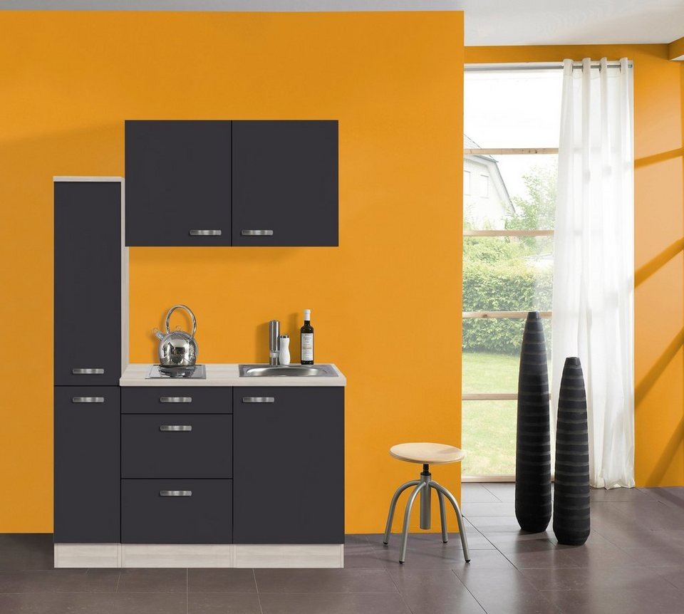 Küchenzeile mit E-Geräten »Skagen«, Breite 130 cm in anthrazit