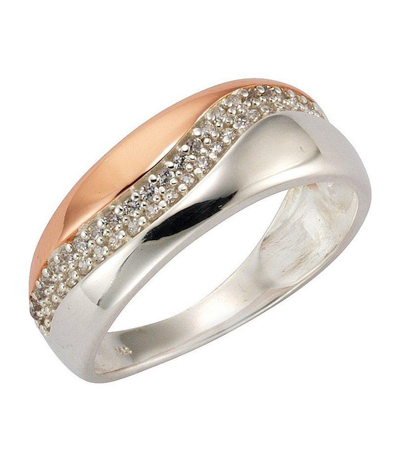 firetti Ring mit Zirkonia in Silber 925/teilw. roségoldfb. vergoldet