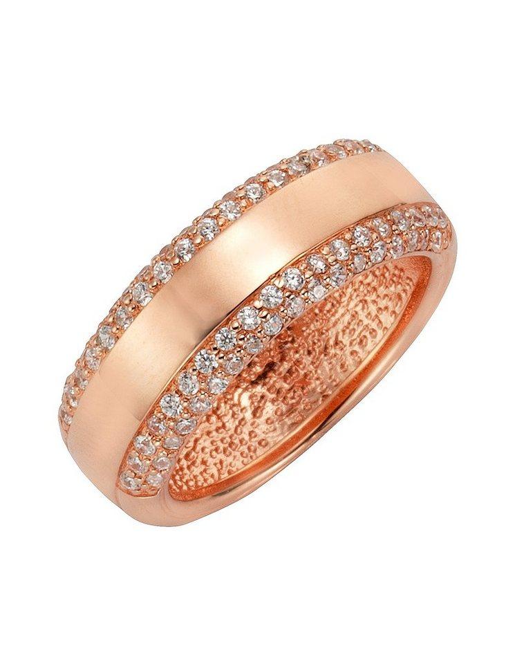 firetti Ring mit Zirkonia in Silber 925/roségoldfb. vergoldet