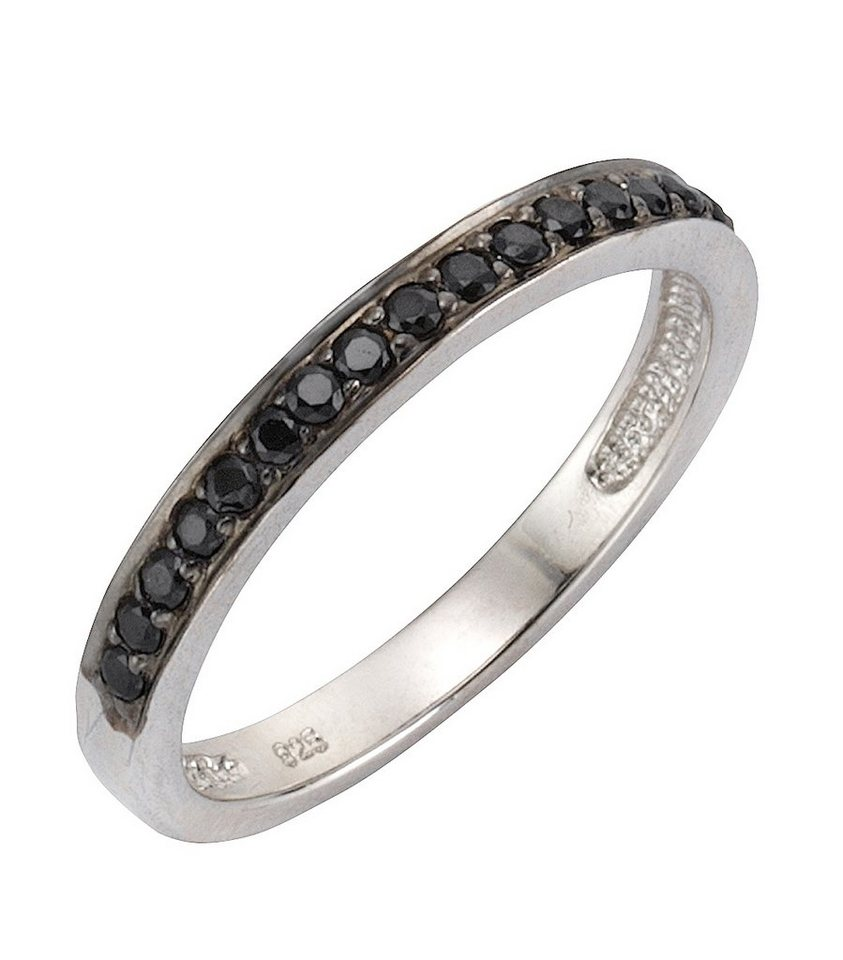 firetti Ring mit Zirkonia in Silber 925/schwarz