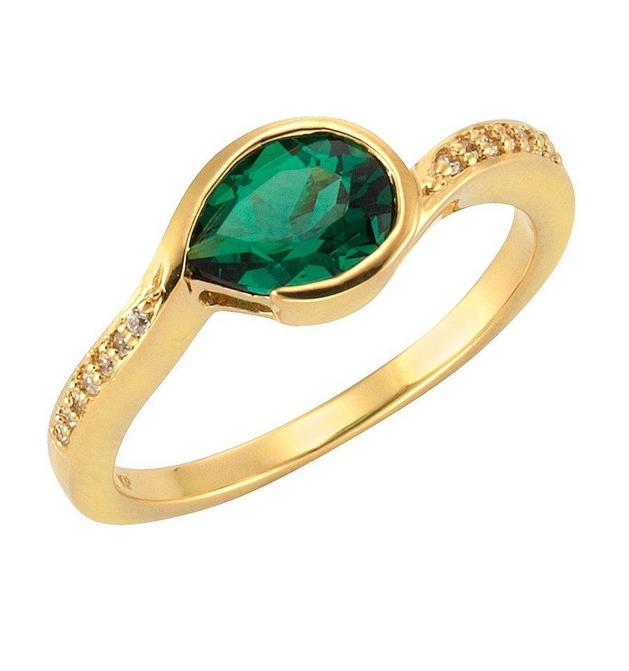 firetti Ring mit Zirkonia und Glasstein in Silber 925/goldfb. vergoldet/grün