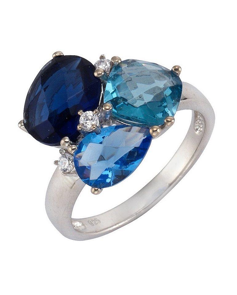 firetti Ring mit Zirkonia und Glasstein in Silber 925/blau