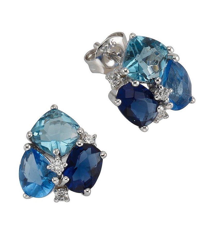 firetti Paar Ohrstecker mit Zirkonia und Glasstein in Silber 925/blau