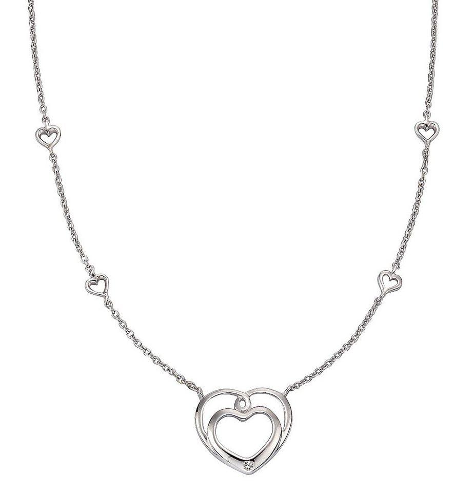 firetti Halsschmuck: Kette mit Anhänger mit Diamant, »Herz« in Silber 925