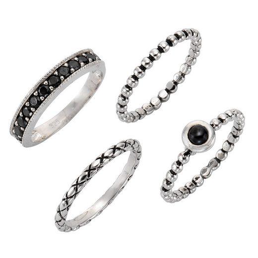 Firetti Ring-Set »teilweise schwarz rhodiniert« (4-tlg), mit Zirkonia