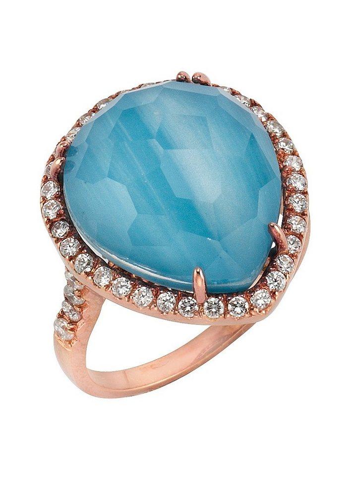 firetti Ring mit Zirkonia und Glasdoublette in Silber 925/roségoldfarben/blau