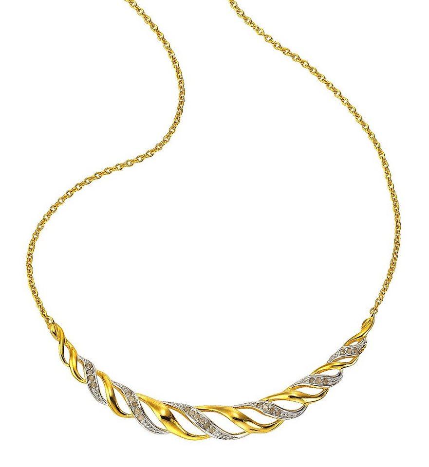 firetti Collier mit Diamant in Silber 925/teilw. goldfb. vergoldet