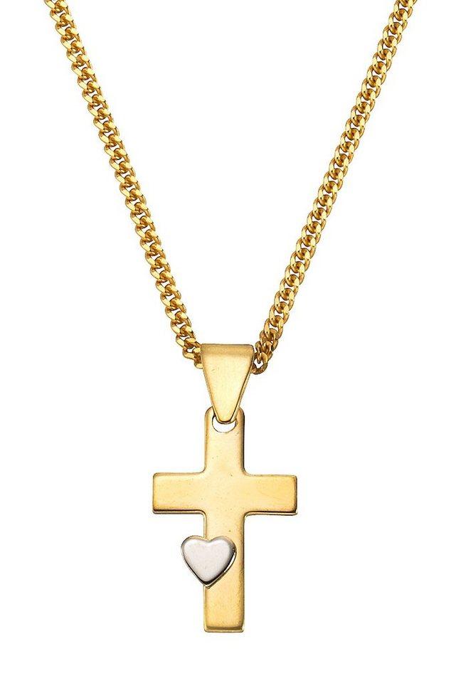 firetti Halsschmuck: Anhänger »Kreuz mit Herz« ohne Kette in Gelbgold 333/teilw. rhodiniert
