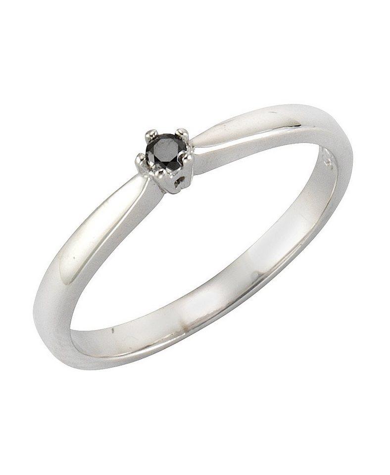 firetti Ring mit Brillant in Silber 925/schwarz
