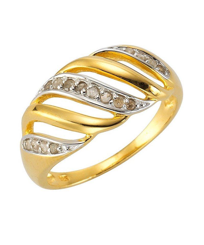 firetti Ring mit Diamant in Silber 925/teilw. goldfb. vergoldet
