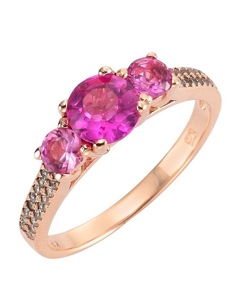 firetti Ring mit Zirkonia in Silber 925/roségoldfb. vergoldet/pink