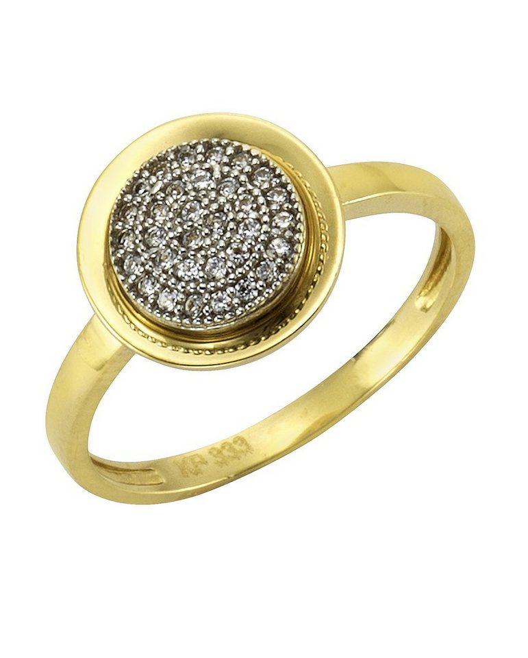 firetti Ring mit Zirkonia in Gelbgold 333/bicolor