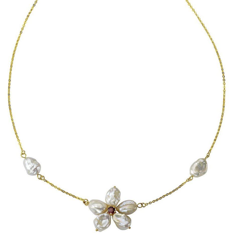 firetti Halsschmuck: Collier »Blüte« mit Granat und Keshi, Süßwasserzuchtperlen in Silber 925/goldfb. vergoldet/weiß/rot