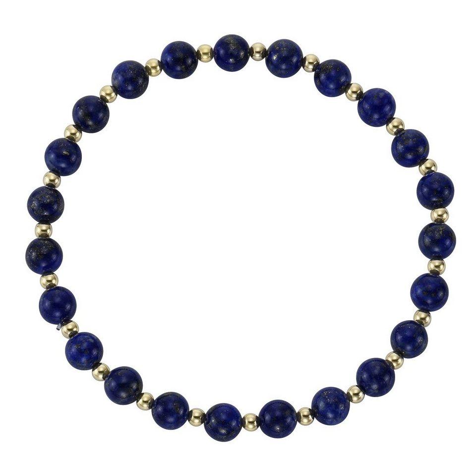 Vivance Armschmuck: Armband mit Lapislazuli in Gelbgold 585/blau