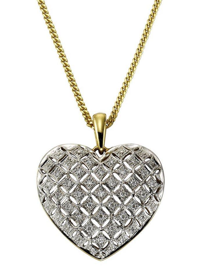 Vivance Anhänger »Herz« mit Diamanten in Gelbgold 333/bicolor