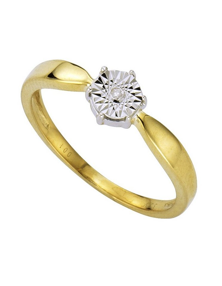 Vivance Ring mit Brillant in Gelb-/Weißgold 333