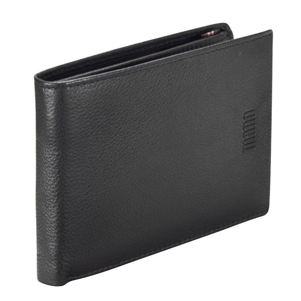 mano Medio Geldbörse Leder 12.5 cm in schwarz