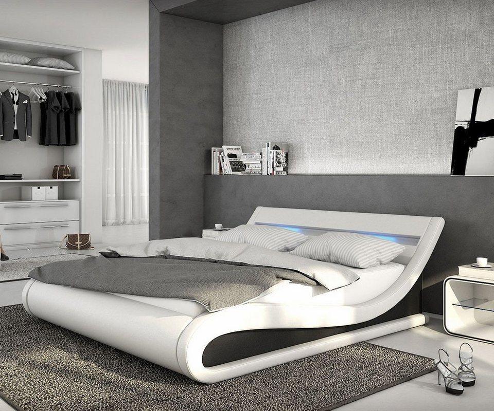 DELIFE Bett Belana Weiss Schwarz 180x200 cm mit LED Kopfteil in Weiß