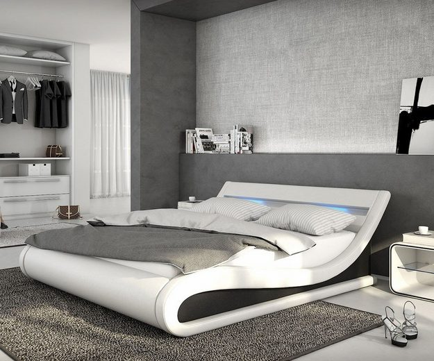 delife bett belana weiss schwarz 180x200 cm kaufen otto. Black Bedroom Furniture Sets. Home Design Ideas