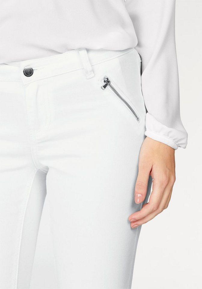 Laura Scott 7/8-Hose mit vielen Reißverschluss Details in wollweiß