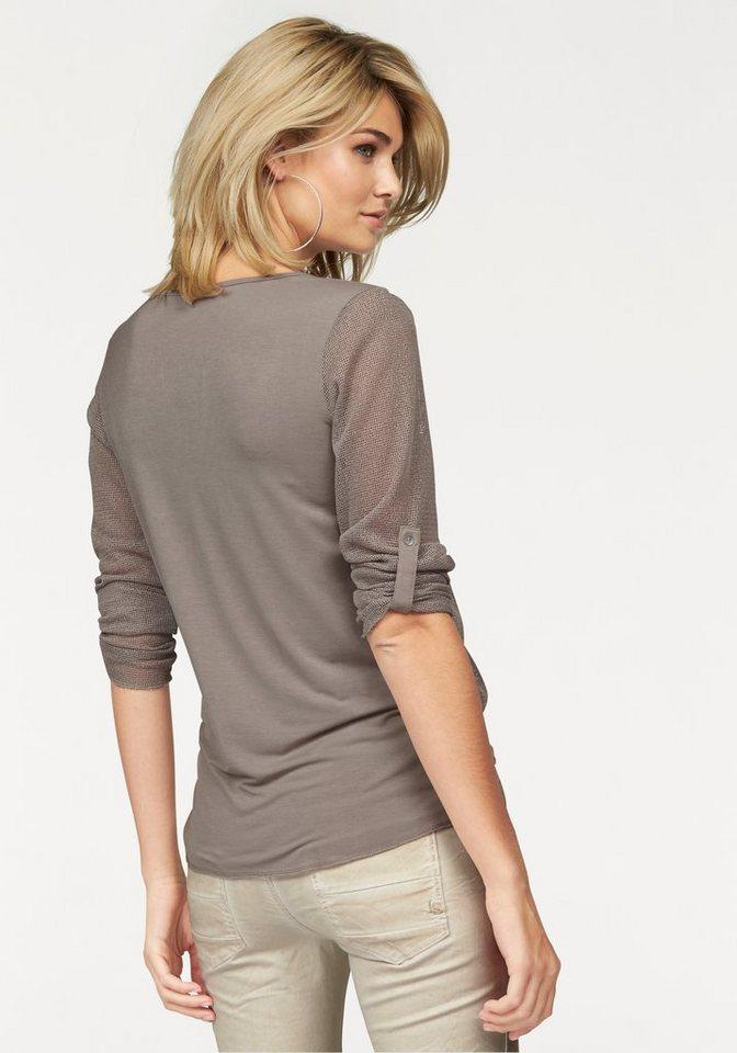 Laura Scott Langarmshirt mit Pailletten an Saum und Brusttasche in taupe