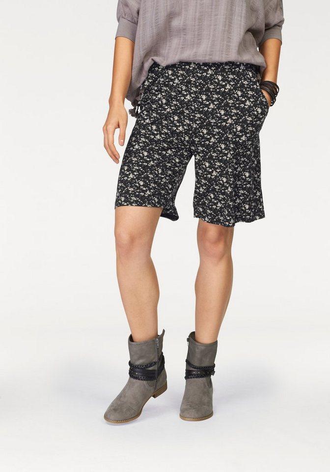 Boysen's Shorts aus weich fließender Jerseyware in schwarz-geblümt