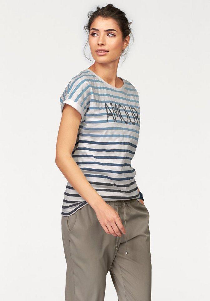 Boysen's T-Shirt mit Streifen im Farbverlauf in wollweiß-blau