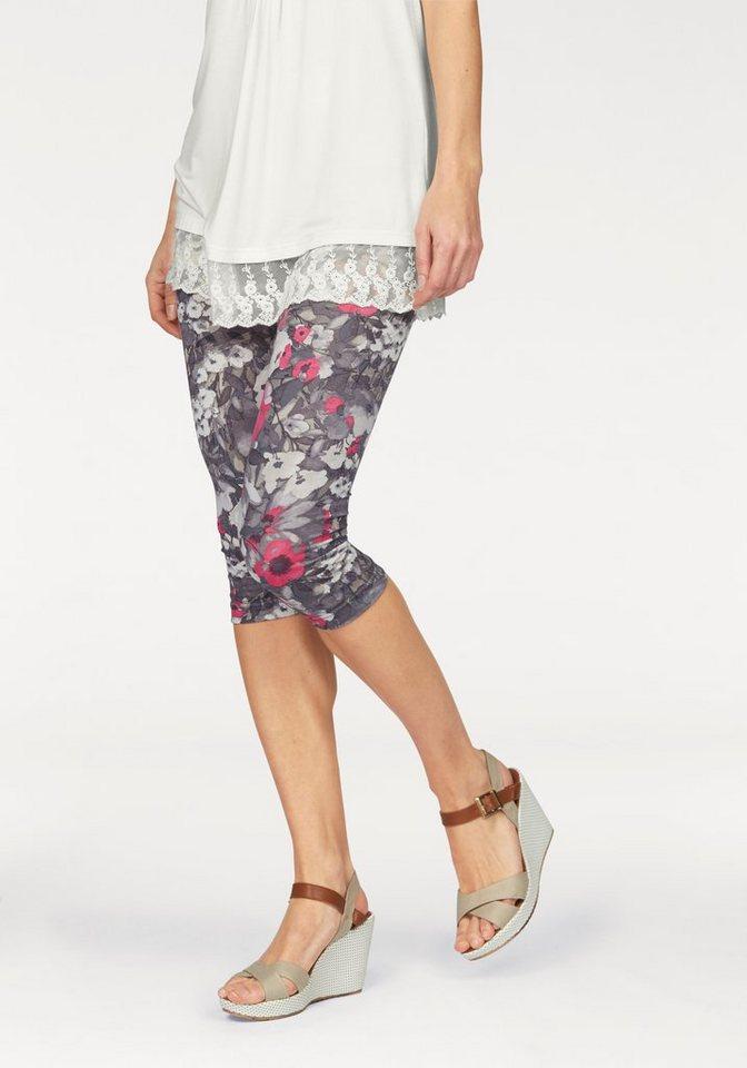 Boysen's Leggings mit Blumendruck in grau-pink
