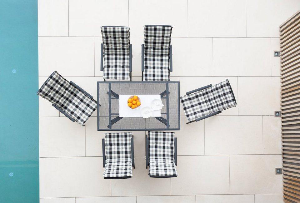 13-tgl. Gartenmöbelset »Montreal«, 6 Klappsessel, Tisch 150x90 cm, Alu, anthrazit in anthrazit