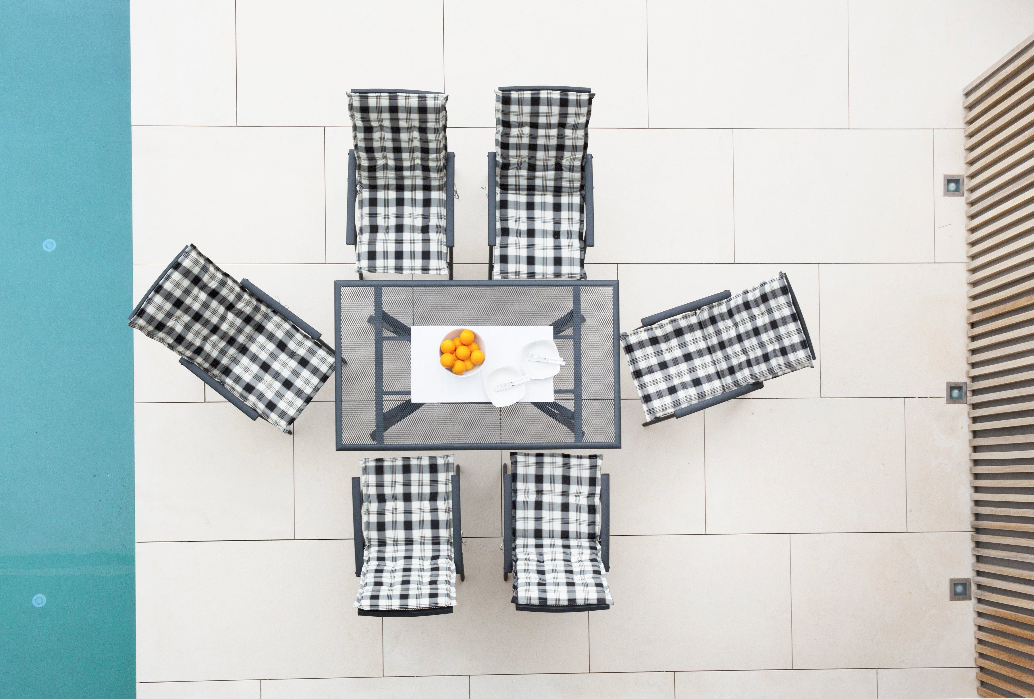 13-tgl. Gartenmöbelset »Montreal«, 6 Klappsessel, Tisch 150x90 cm, Alu, anthrazit
