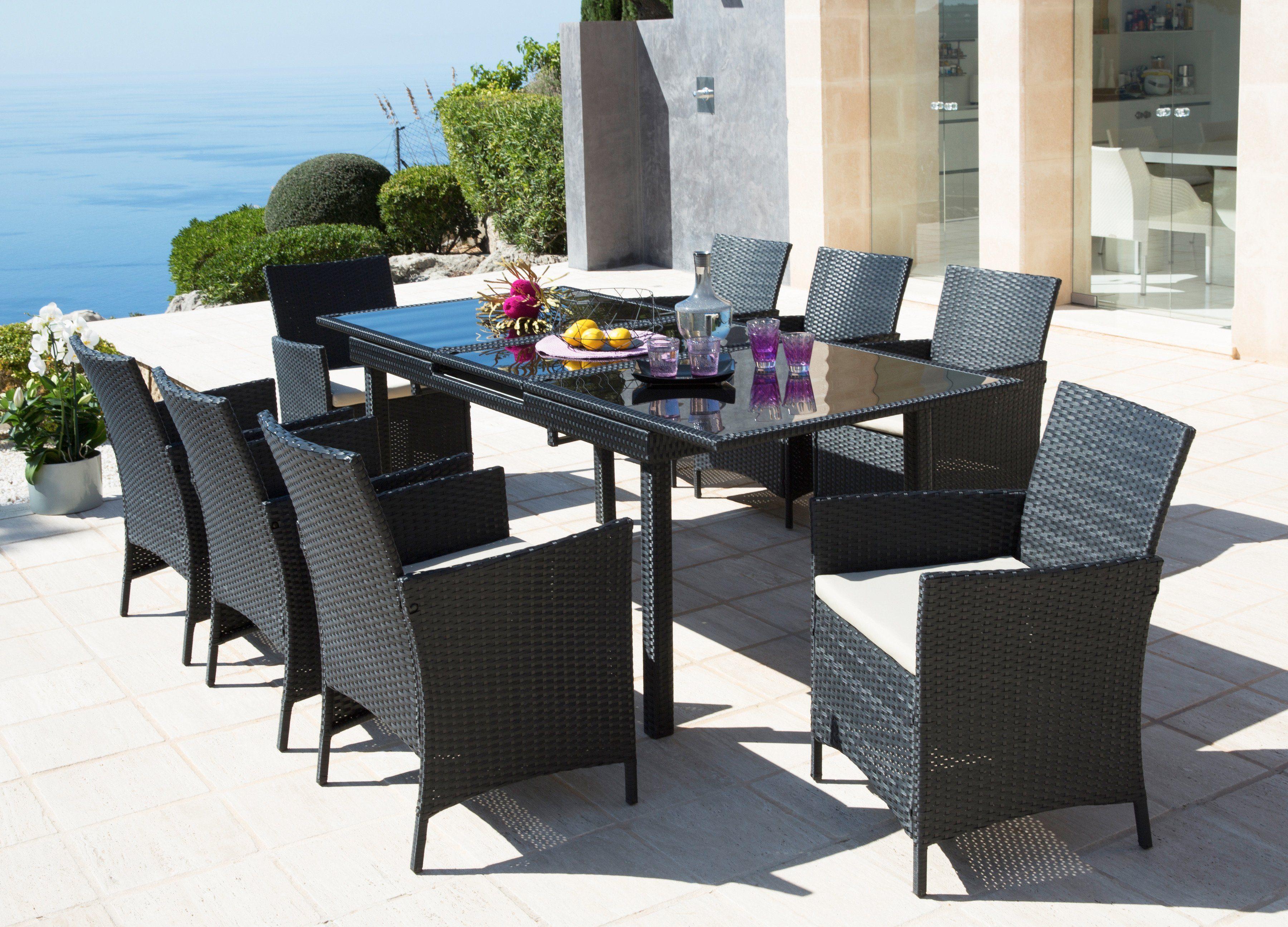 19-tgl. Gartenmöbelset »Alanya«, 8 Sessel, Tisch 160-210 cm, Polyrattan, schwarz