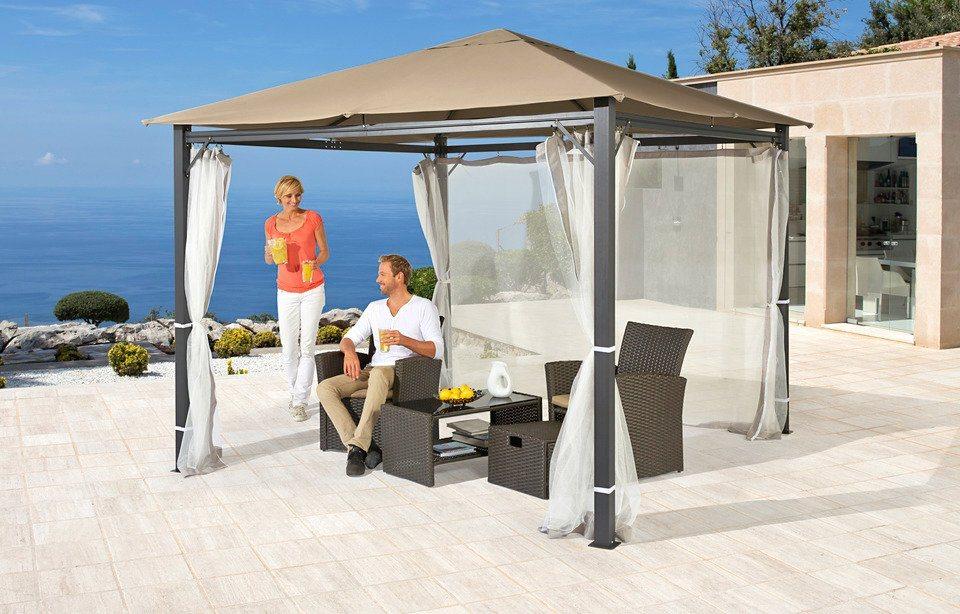 Seitenteile für Pavillon »Alu«, sandfarbend in grau