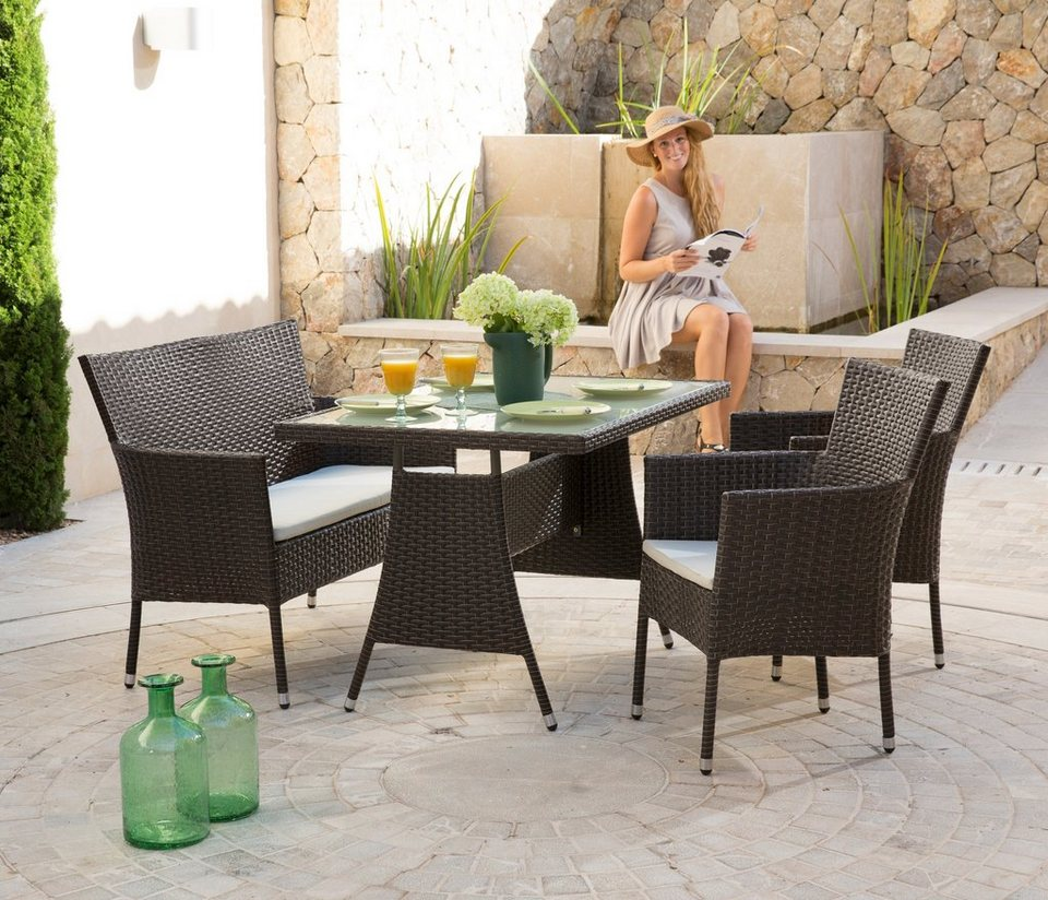 gartenm belset trentino 7 tlg 2 sessel bank tisch 120x80 cm polyrattan braun online. Black Bedroom Furniture Sets. Home Design Ideas