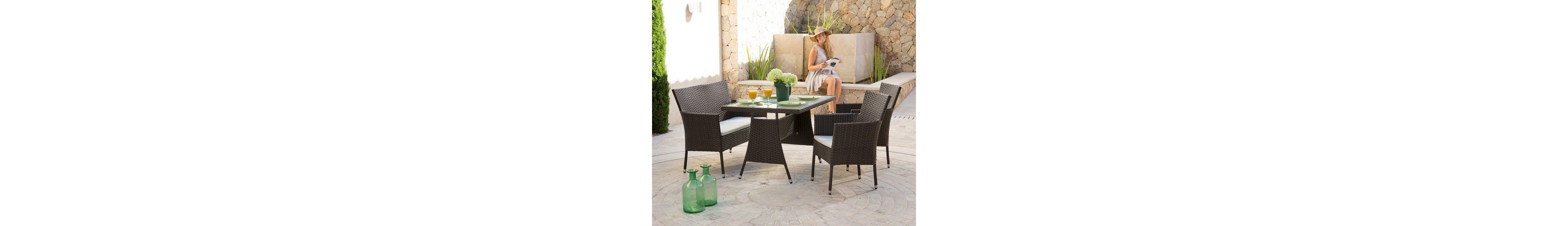 7-tgl. Gartenmöbelset »Trentino«, 2 Sessel, Bank, Tisch 120x80 cm, Kunststoff, braun