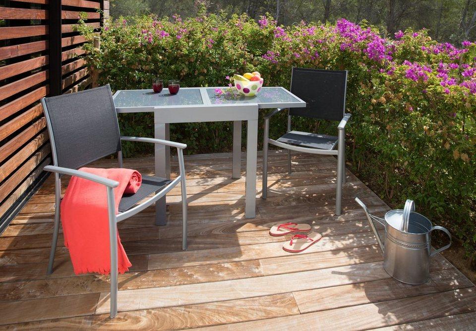 3-tgl. Gartenmöbelset »Milano«, 2 Stapelsessel, Tisch 65-130 cm, Alu/Textil, schwarz in schwarz