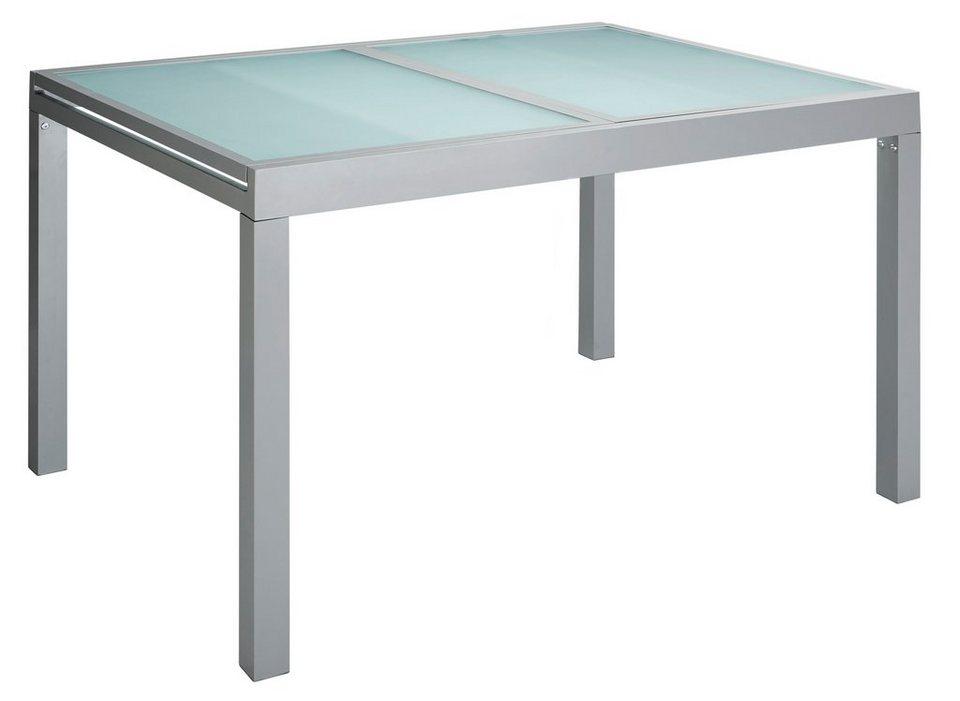 Gartentisch, ausziehbar, Aluminium, 120-180x90 cm in silberfarben