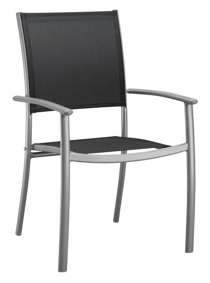 Gartenstuhl »Milano«, (2er Set), Alu/Textil, stapelbar, schwarz in schwarz