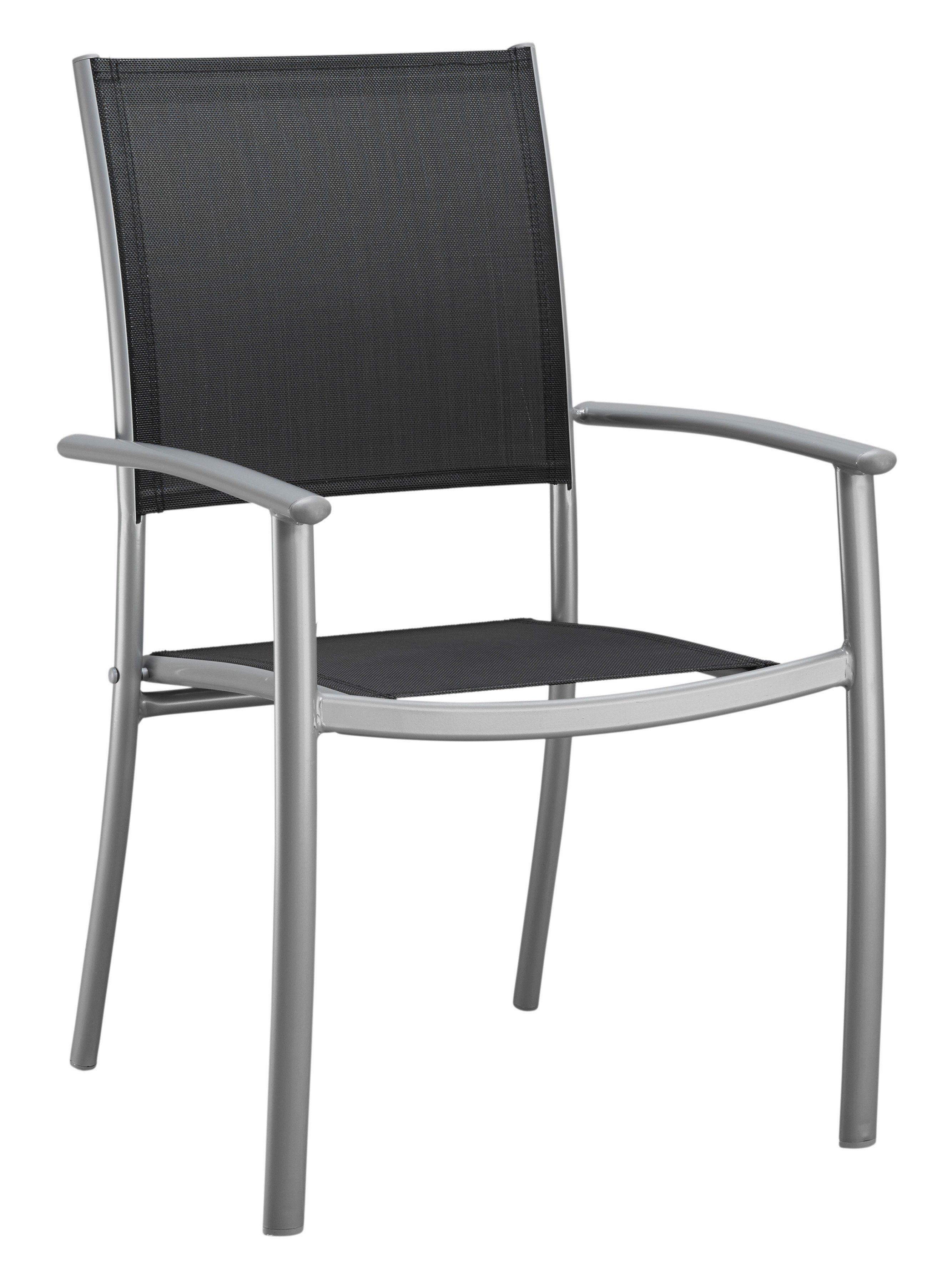 Gartenstuhl »Milano«, (2er Set), Alu/Textil, stapelbar, schwarz