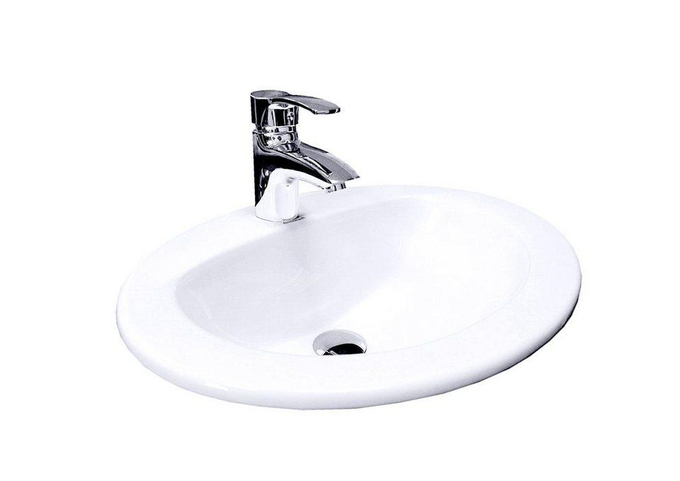 Waschbecken zeichnung  Keramik Einsatz-Waschbecken / Waschtisch »Essino« Breite 52 cm ...