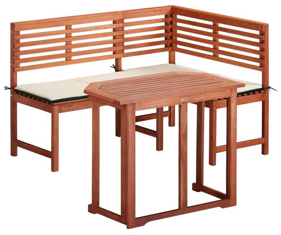 Merxx Gartenmobelset 4 Tlg Eckbank Tisch 90x60 Cm Klappbar Eukalyptus Braun Online Kaufen Otto